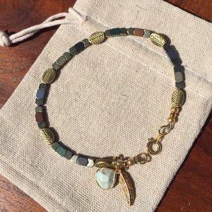Jewelry - Metal Bead Bracelet With Leaf Charm Handmade